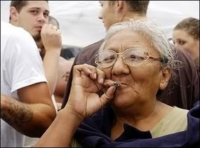old lady toking pot